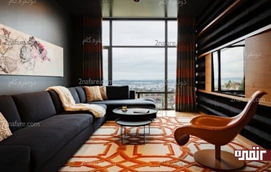 فرش فانتزی با رنگ های نارنجی و سفید در دکور داخلی