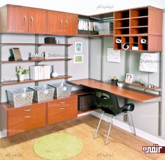 قفسه بندی روی دیوار و قرار دادن مرتب وسیله ها در آن