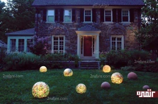 لامپهای گوی شکل و درخشان برای طراحی دکور حیاط