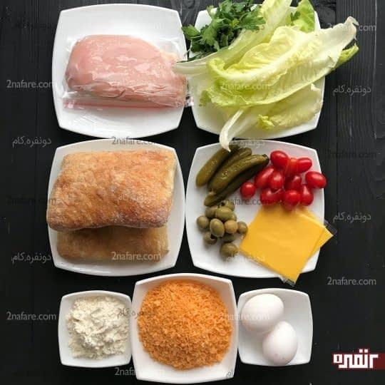 مواد لازم برای تهیه ساندویچ مرغ سوخاری
