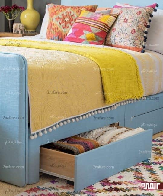 کشوهای مخفی زیر تخت برای نگهداری از لوازم اضافی