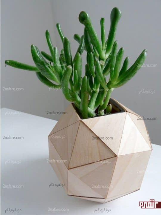 گلدون هندسی چوبی