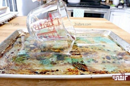 ریختن آب گرم روی ورقه ها
