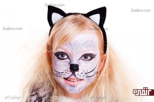 نقاشی گربه روی صورت
