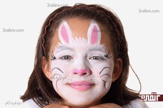 طراحی خرگوش روی صورت کودک