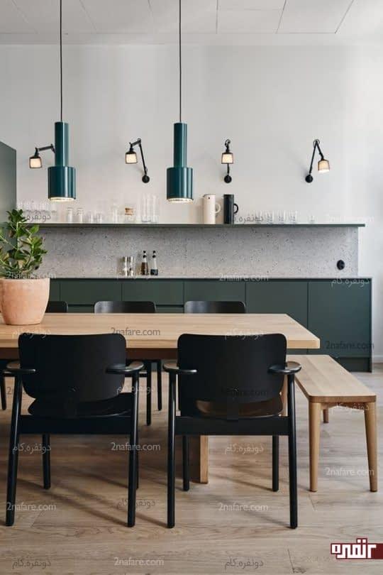 آشپزخانه مدرن با نورپردازی مناسب