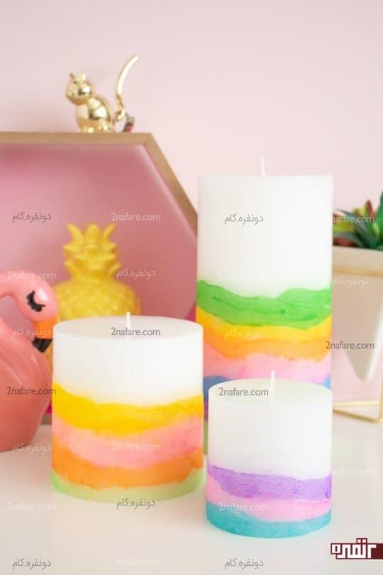 آموزش ساخت شمع رنگی یا رنگ آمیزی روی شمع های ساده