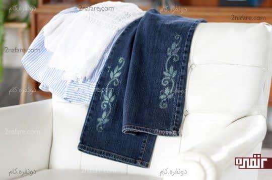 آموزش طراحی روی شلوار جین با مایع سفید کننده