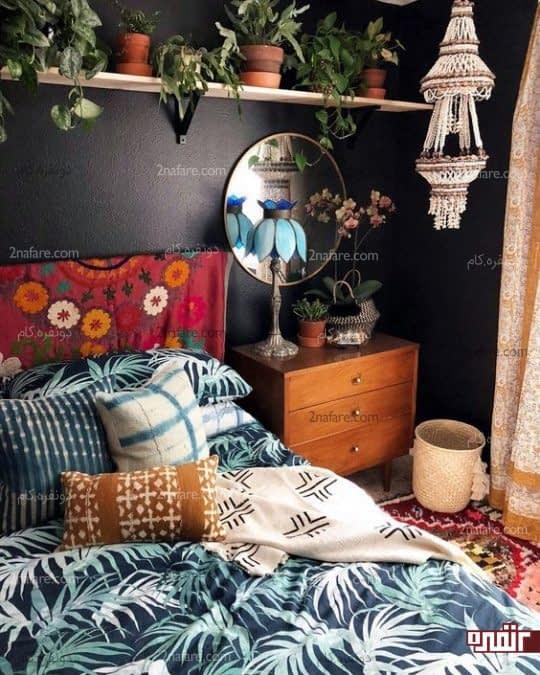 تزیین دکور اتاق خواب سنتی با گل و گیاهان زیبا