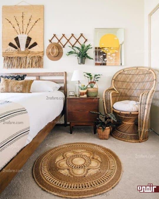 دکور متفاوت و سنتی برای اتاق خواب به سبک بوهو