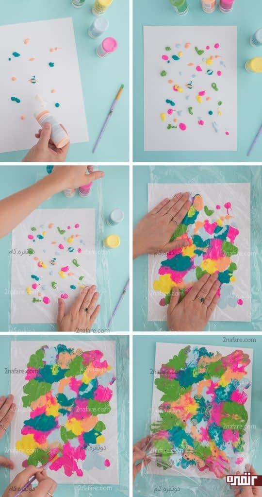 رنگ پاشی و پخش رنگ روی کاغذ