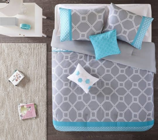 روتختی با طرح هندسی و ترکیب رنگ آبی خاکستری