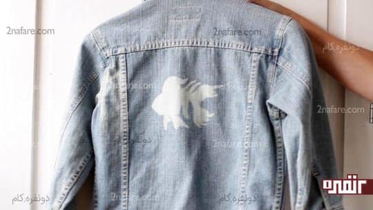 طراحی با مایع سفید کننده روی کت جین