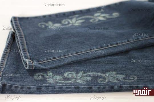 طراحی روی شلوار جین با مایع سفید کننده