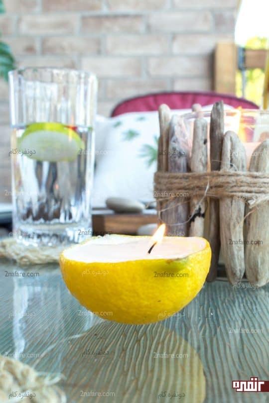 مراحل ساخت شمع میوه ای لیمویی