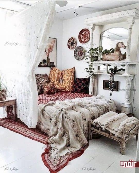 منسوجات بوهویی تخت خواب
