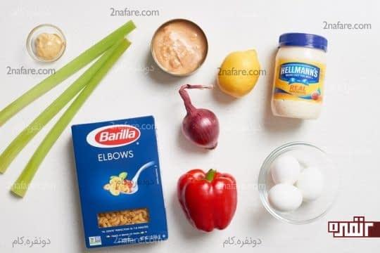 مواد لازم برای تهیه پاستا تن ماهی و سبزیجات