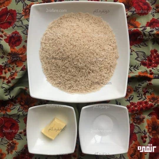 مواد لازم برای تهیه کته ساده
