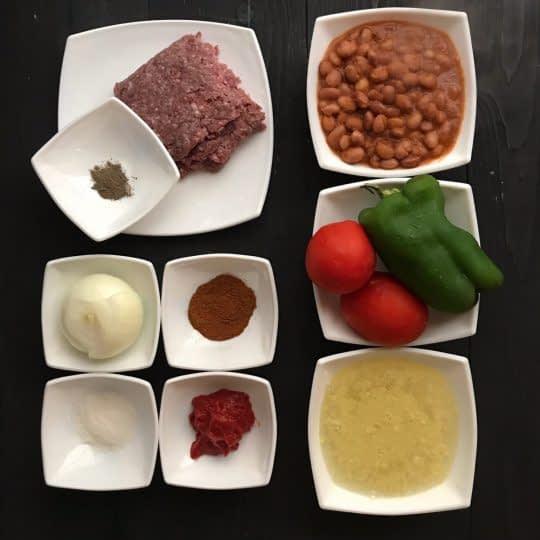 مواد لازم برای تهیه خوراک گوشت و لوبیا چیتی