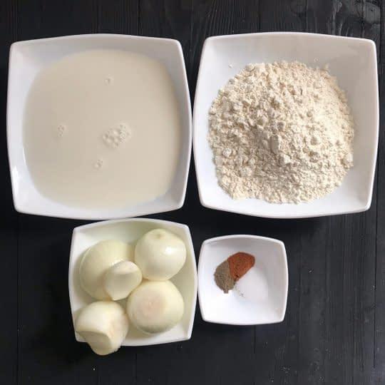 مواد لازم برای تهیه پیاز سرخ شده فرانسوی