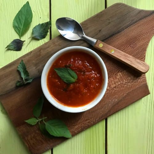 سس گوجه فرنگی و ریحان