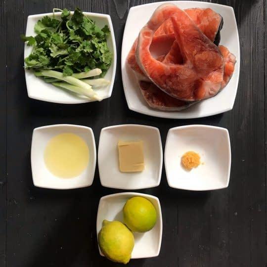 مواد لازم برای تهیه سالمون با سس لیمو