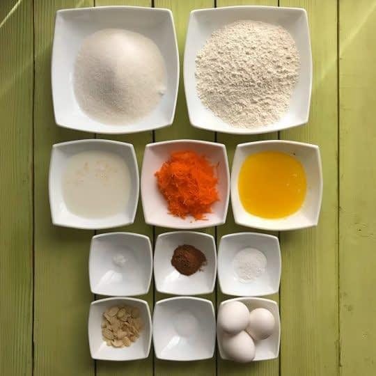 مواد لازم برای تهیه کاپ کیک هویج