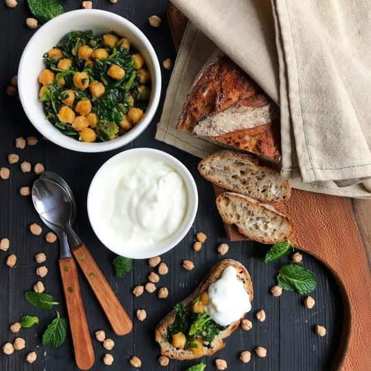 خوراک نخود و اسفناج