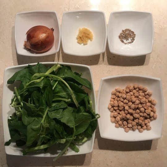 مواد لازم برای تهیه خوراک نخود و اسفناج