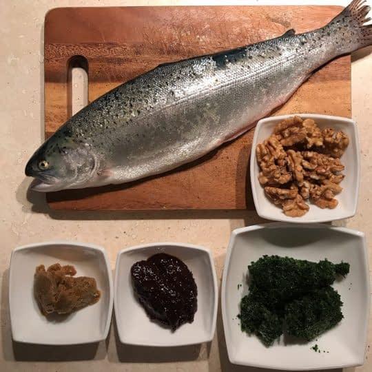 مواد لازم برای تهیه ماهی شکم پر