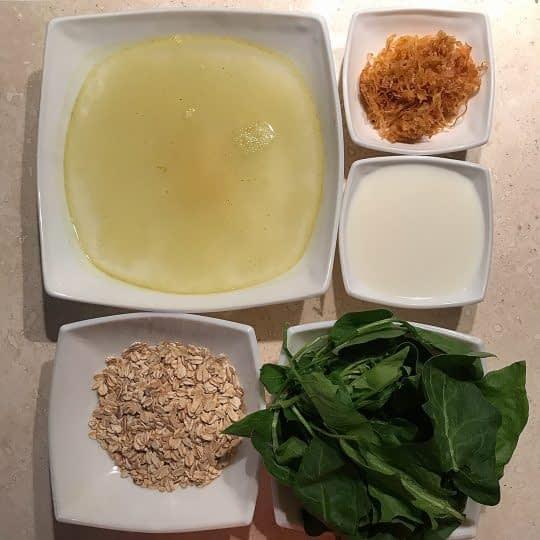 مواد لازم برای تهیه سوپ اسفناج