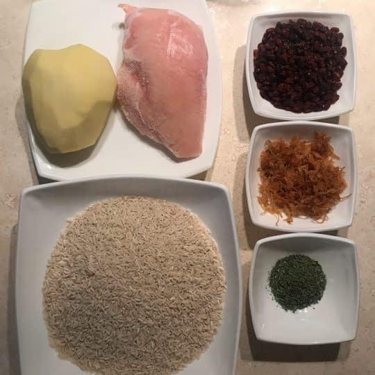 مواد لازم برای تهیه پلو مرغ و ترخون