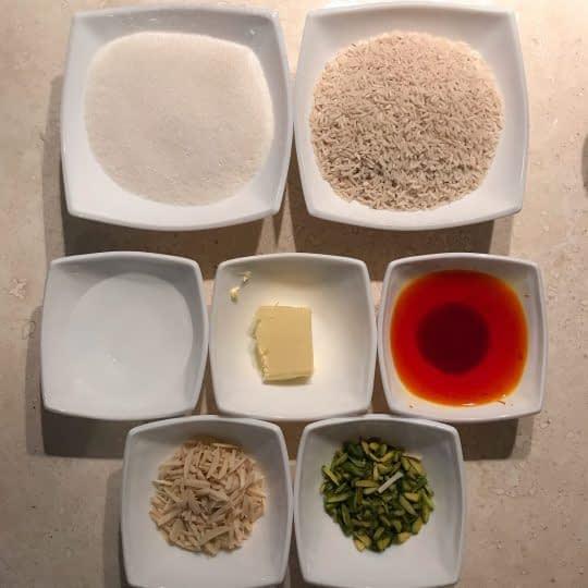 مواد لازم برای تهیه شله زرد