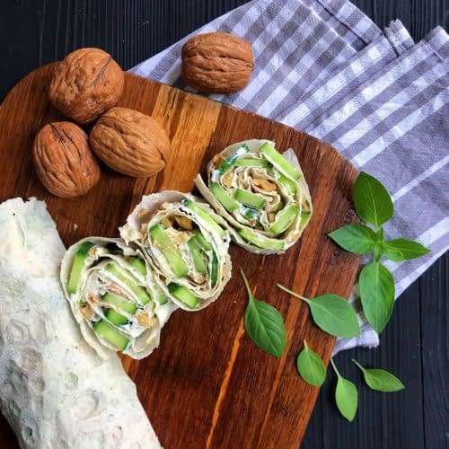 rolled cheese and walnut sandwich