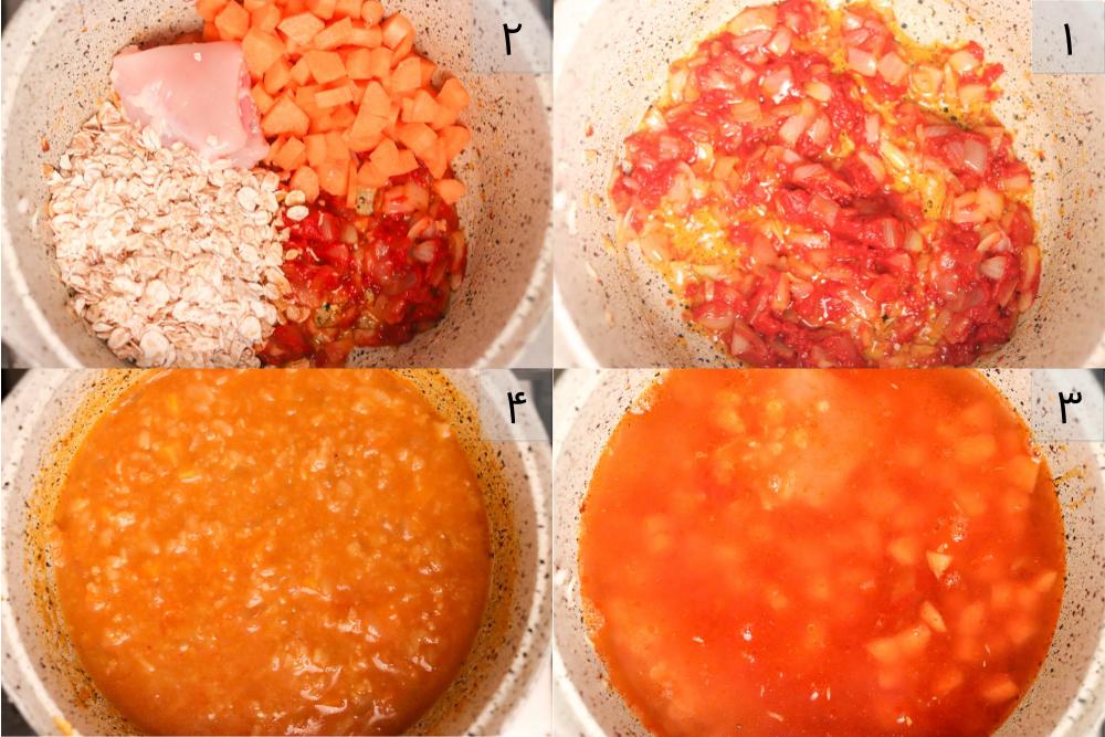 مراحل تهیه ی سوپ جو